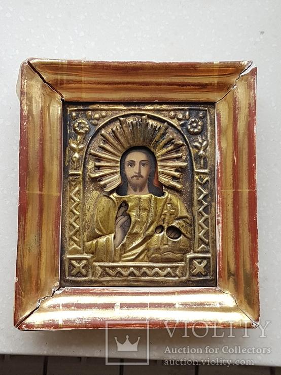 Икона Спаситель в окладе, фото №2