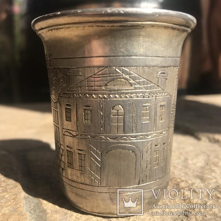 Кидушный серебряный стакан с синагогой Кам.-Подольского Шнадман