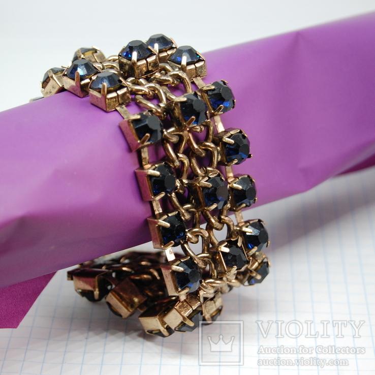Широкий браслет с крупными темно-синими камнями., фото №2
