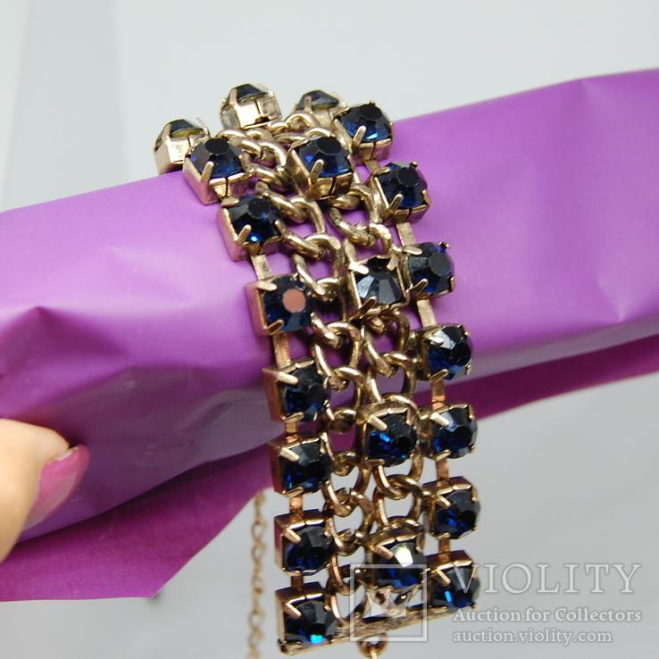 Широкий браслет с крупными темно-синими камнями., фото №4