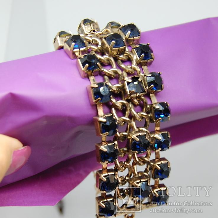 Широкий браслет с крупными темно-синими камнями., фото №5