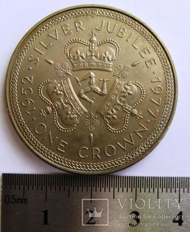 """Великобритания, Остров Мэн, 1 крона """"Елизавета II"""" 1977 г., фото №4"""