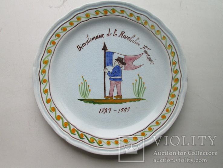 Тарелка Франция фаянс ручная работа., фото №3