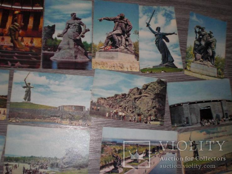 Набор открыток СССР ВОЛГОГРАД ПАМЯТНИКИ 14ШТ 1968г, фото №4