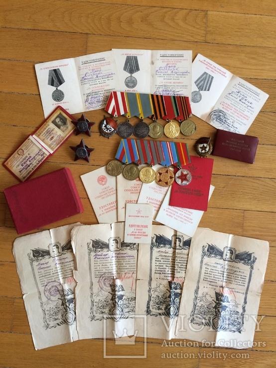 Награды на подполковника БКЗ КЗ ЗБЗ выслуга Варшава с документами благодарности Сталина