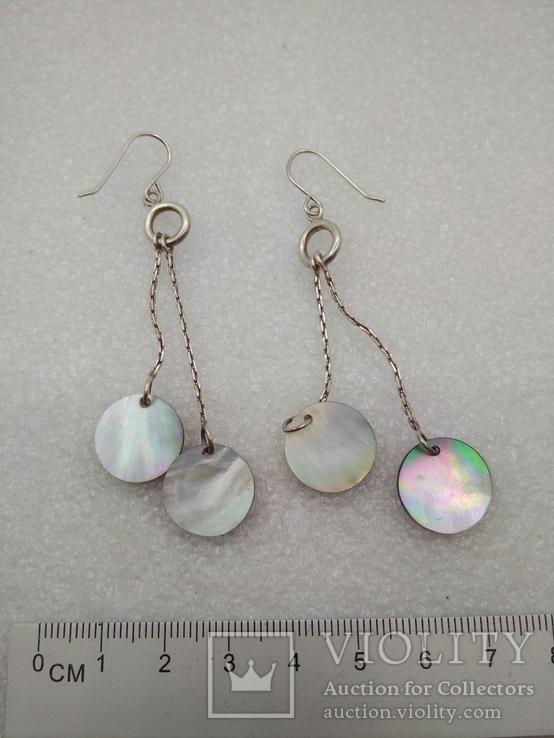 Серьги с перломутром серебро, фото №2