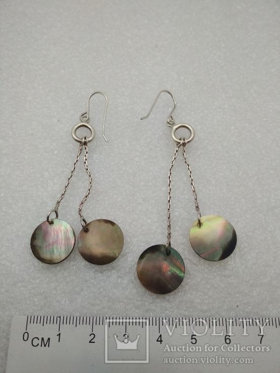 Серьги с перломутром серебро, фото №3
