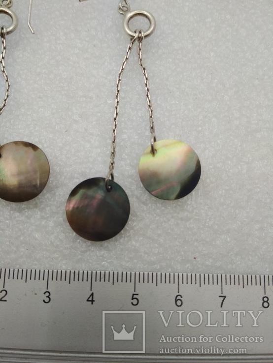 Серьги с перломутром серебро, фото №5