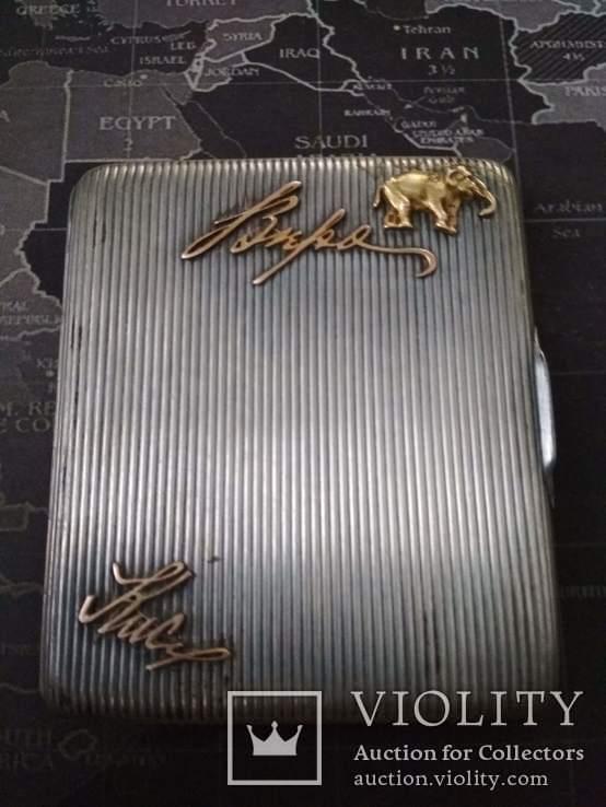 Серебряный портсигар 84 пробы позолота золотые накладки