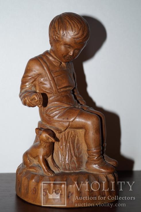 Статуэтка Мальчик с собачкой 1955 год.С грамотой за эту работу., фото №5