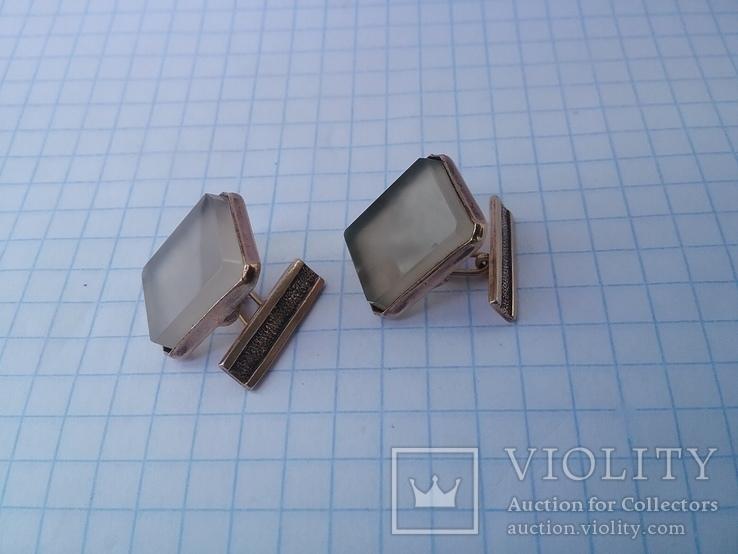 Запонки серебро ☆875 позолота  ,клеймо 1ЛЮ