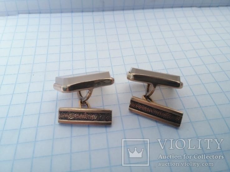 Запонки серебро ☆875 позолота  ,клеймо 1ЛЮ, фото №6