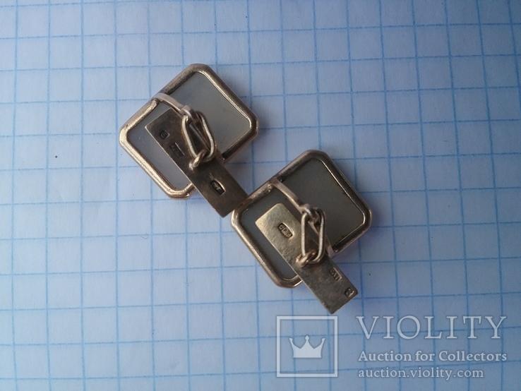 Запонки серебро ☆875 позолота  ,клеймо 1ЛЮ, фото №9