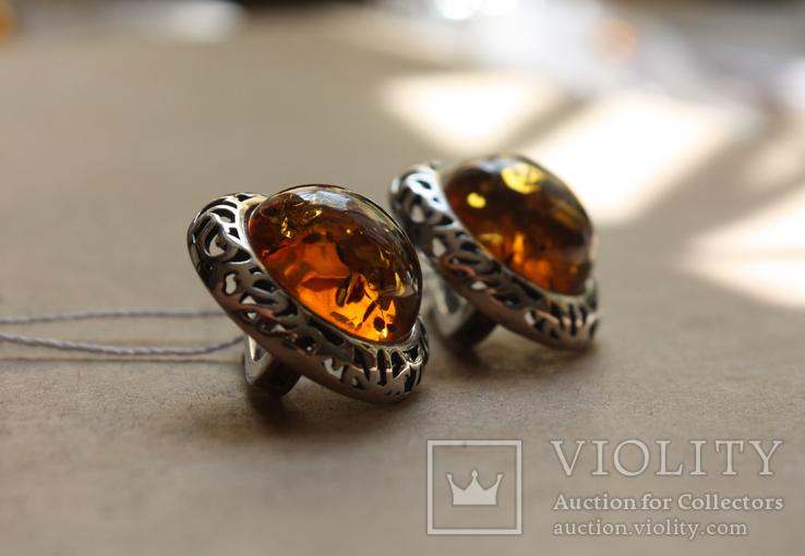Серебряные серьги с янтарем, фото №2
