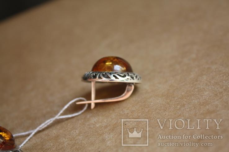 Серебряные серьги с янтарем, фото №6