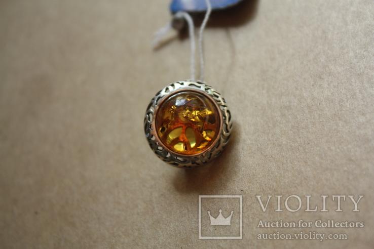Серебряные серьги с янтарем, фото №8