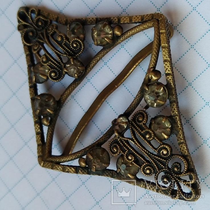 Зажим брошь для галстука с камнями, фото №3