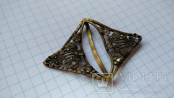 Зажим брошь для галстука с камнями, фото №5