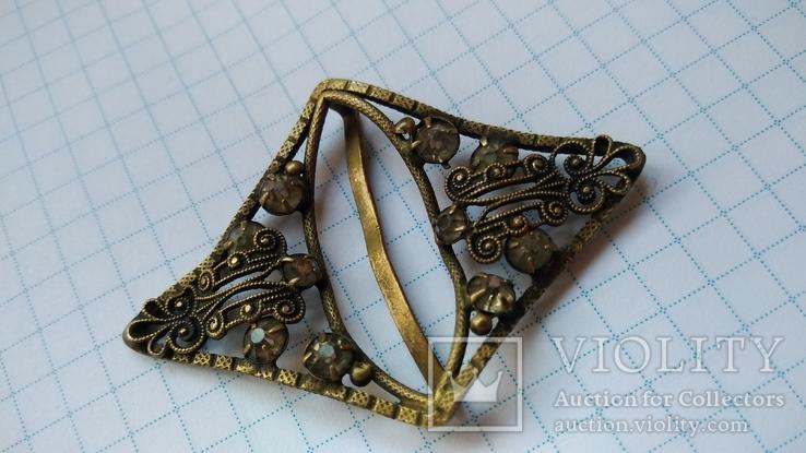 Зажим брошь для галстука с камнями, фото №6