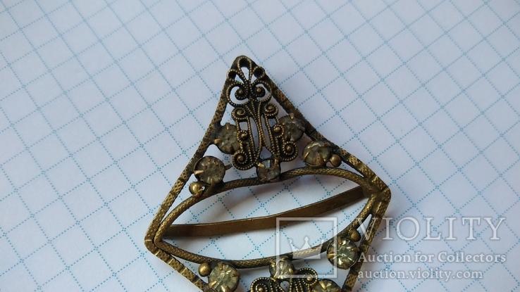 Зажим брошь для галстука с камнями, фото №7