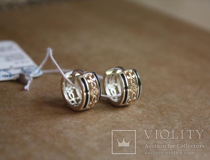 Серебряные серьги с золотом и эмалью