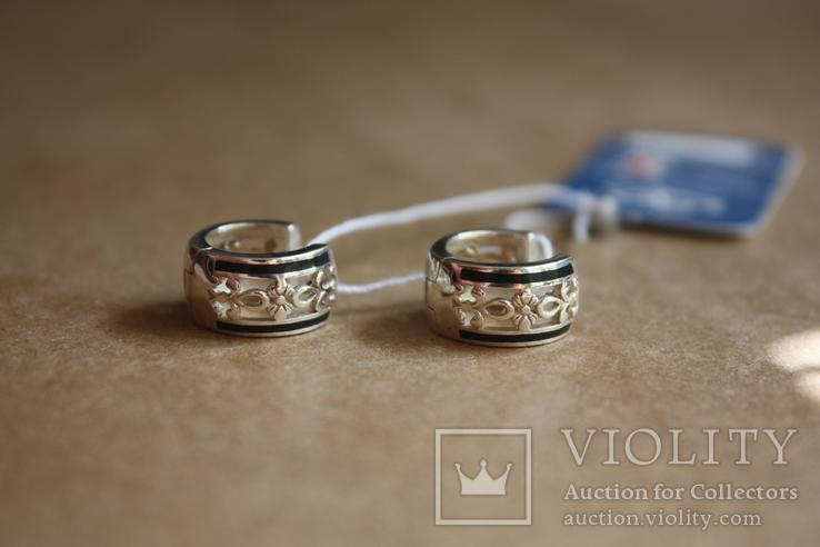 Серебряные серьги с золотом и эмалью, фото №4