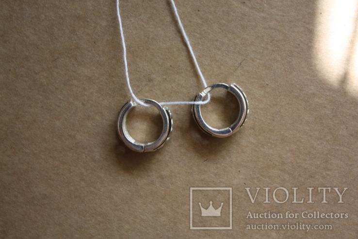 Серебряные серьги с золотом и эмалью, фото №5