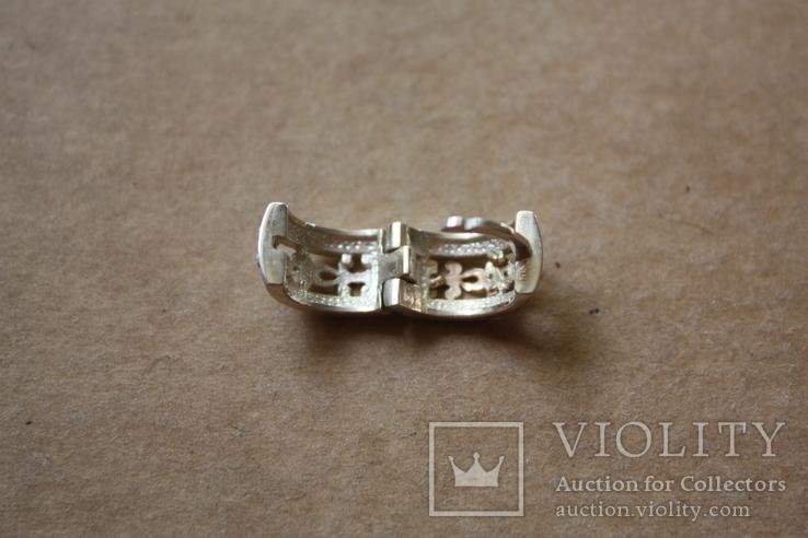 Серебряные серьги с золотом и эмалью, фото №6