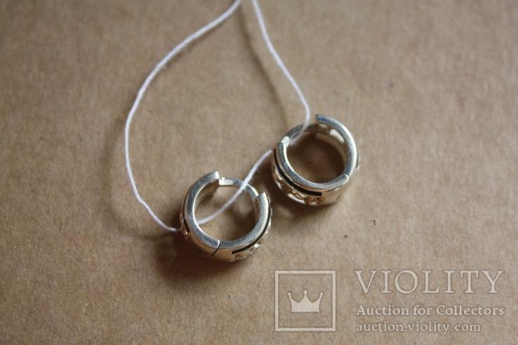 Серебряные серьги с золотом и эмалью, фото №7