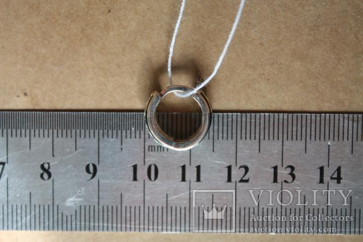 Серебряные серьги с золотом и эмалью, фото №9