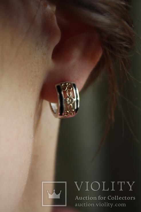 Серебряные серьги с золотом и эмалью, фото №10