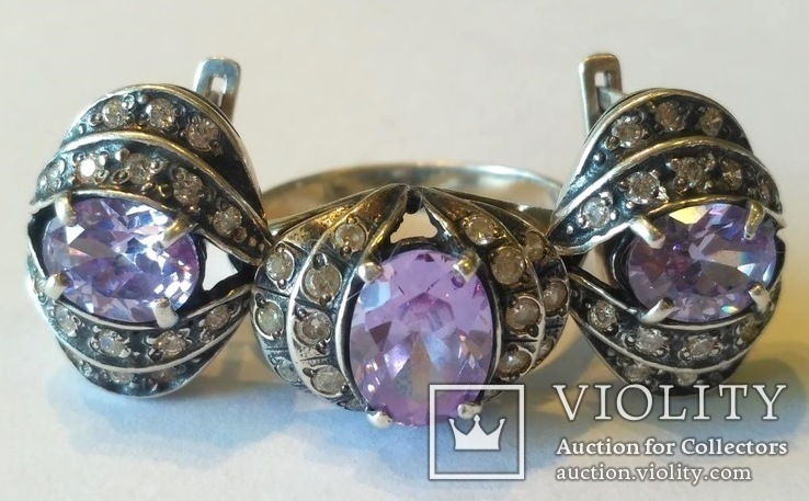 Гарнитур 3 кольцо и серьги серебро