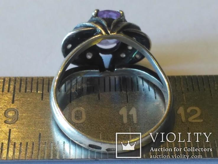 Гарнитур 3 кольцо и серьги серебро, фото №6