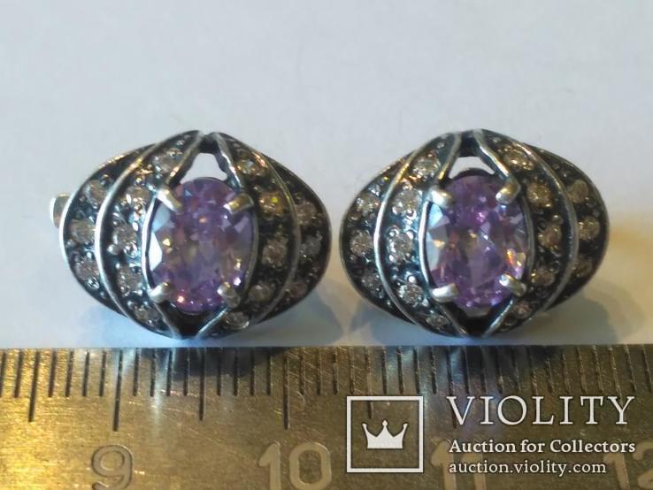Гарнитур 3 кольцо и серьги серебро, фото №7
