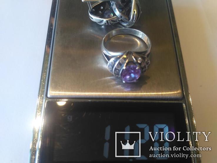 Гарнитур 3 кольцо и серьги серебро, фото №10