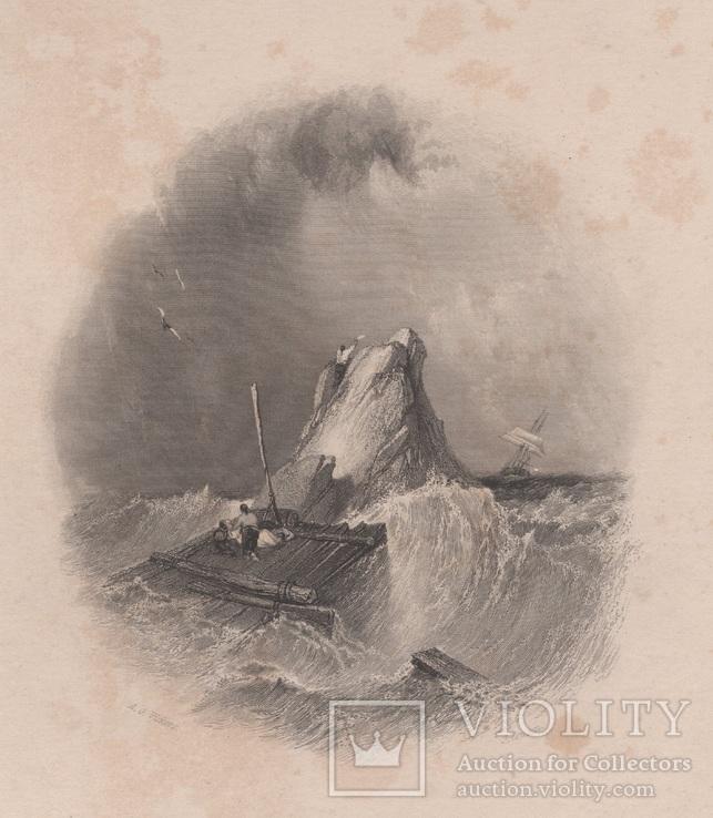 Старинная гравюра. 1835 год. Плот. Викерс. (29,8х21,5см.).
