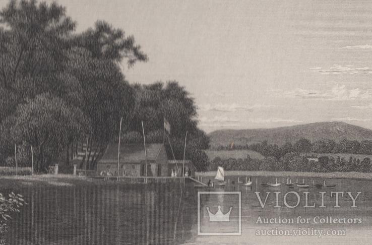 Старинная гравюра. 1870 год. Уста Мудны на Гудзоне. Девид Джонсон. (32х24см.)., фото №3