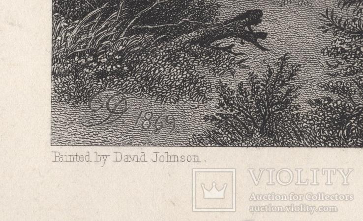 Старинная гравюра. 1870 год. Уста Мудны на Гудзоне. Девид Джонсон. (32х24см.)., фото №9