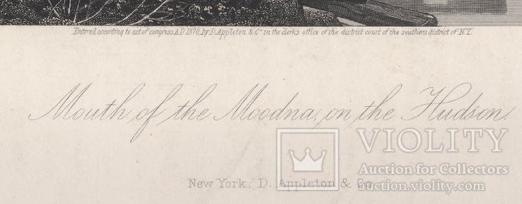 Старинная гравюра. 1870 год. Уста Мудны на Гудзоне. Девид Джонсон. (32х24см.)., фото №10