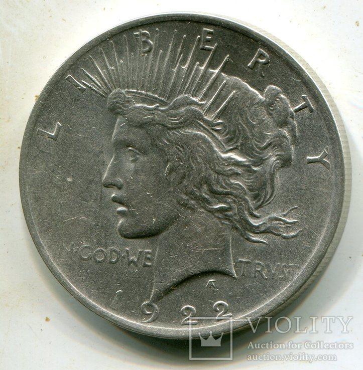 Мирный доллар 1922 г. Серебро., фото №2