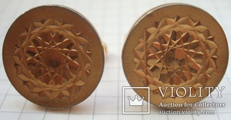 Запонки манжетные золотистые малые., фото №2
