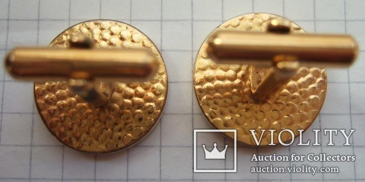 Запонки манжетные золотистые малые., фото №4