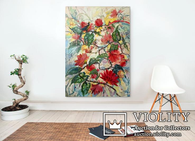 """""""Tropical flowers"""" большая картина маслом 1800х1350 мм Ю. Смаль, фото №2"""