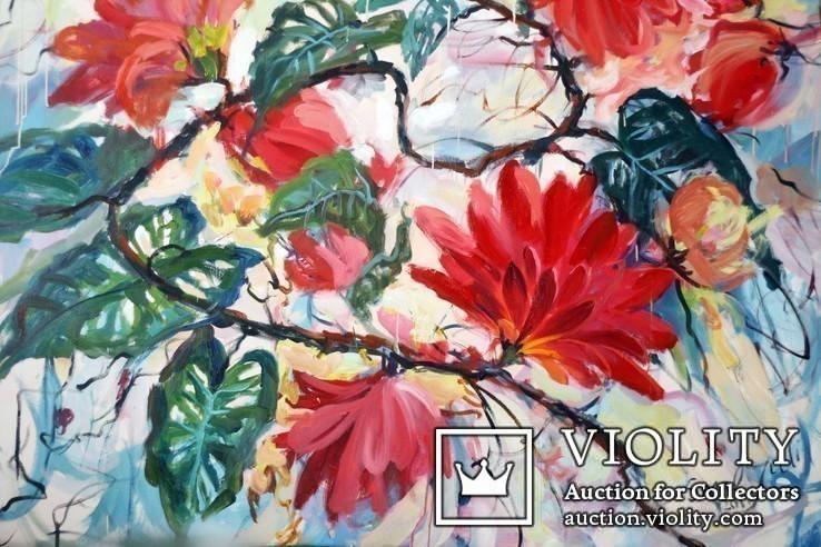 """""""Tropical flowers"""" большая картина маслом 1800х1350 мм Ю. Смаль, фото №6"""