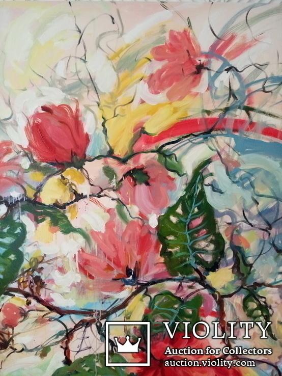 """""""Tropical flowers"""" большая картина маслом 1800х1350 мм Ю. Смаль, фото №8"""