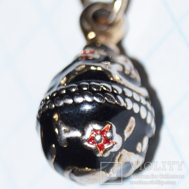 Кулон яйцо F.E.(Серебро,позолота,эмаль)., фото №4