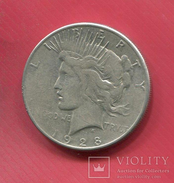США 1 доллар 1928 серебро Мирный, фото №2