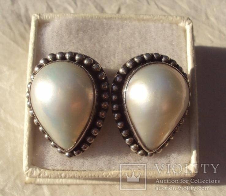 Клипсы серебро жемчуг.