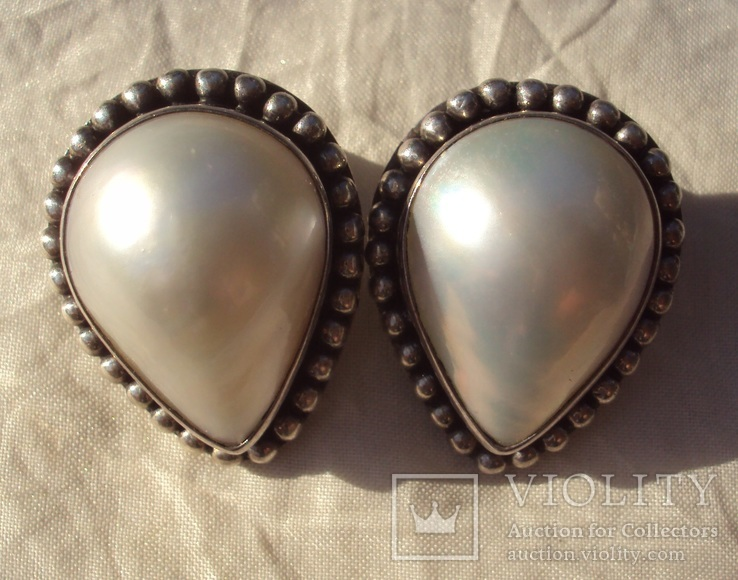 Клипсы серебро жемчуг., фото №4