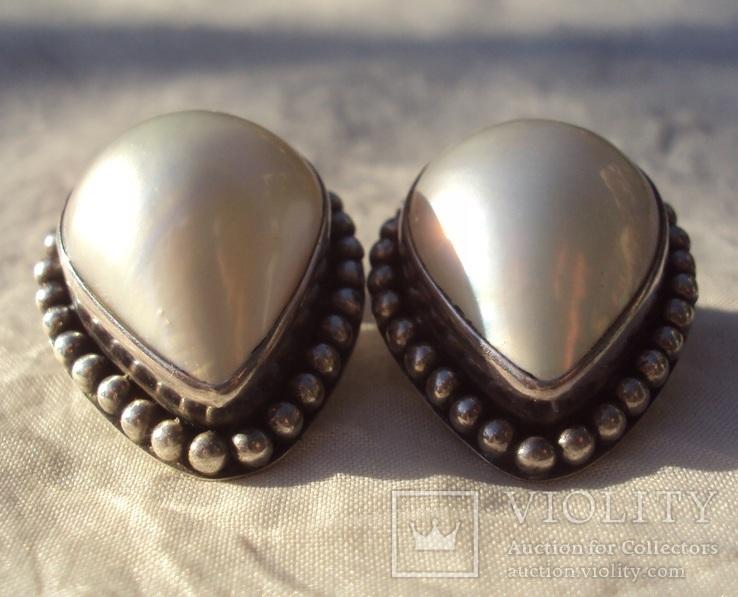 Клипсы серебро жемчуг., фото №5